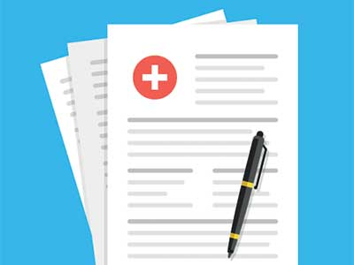 Papers with a health cross seal on one.