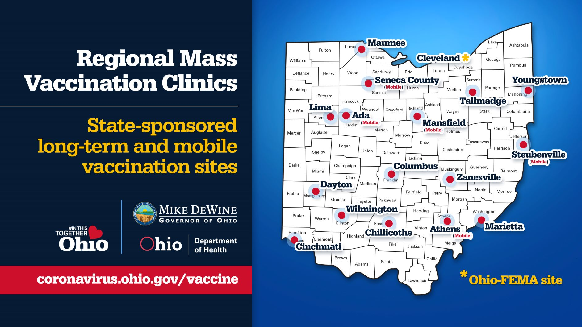 Map of Ohio mass vaccination and mobile clinic locations