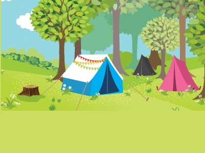 Two tents in a park.