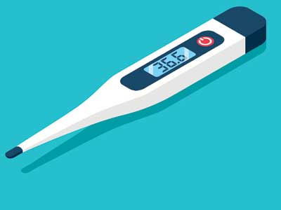 A digital thermometer.